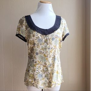 Anthropologie Silk Diodore Floral Blouse